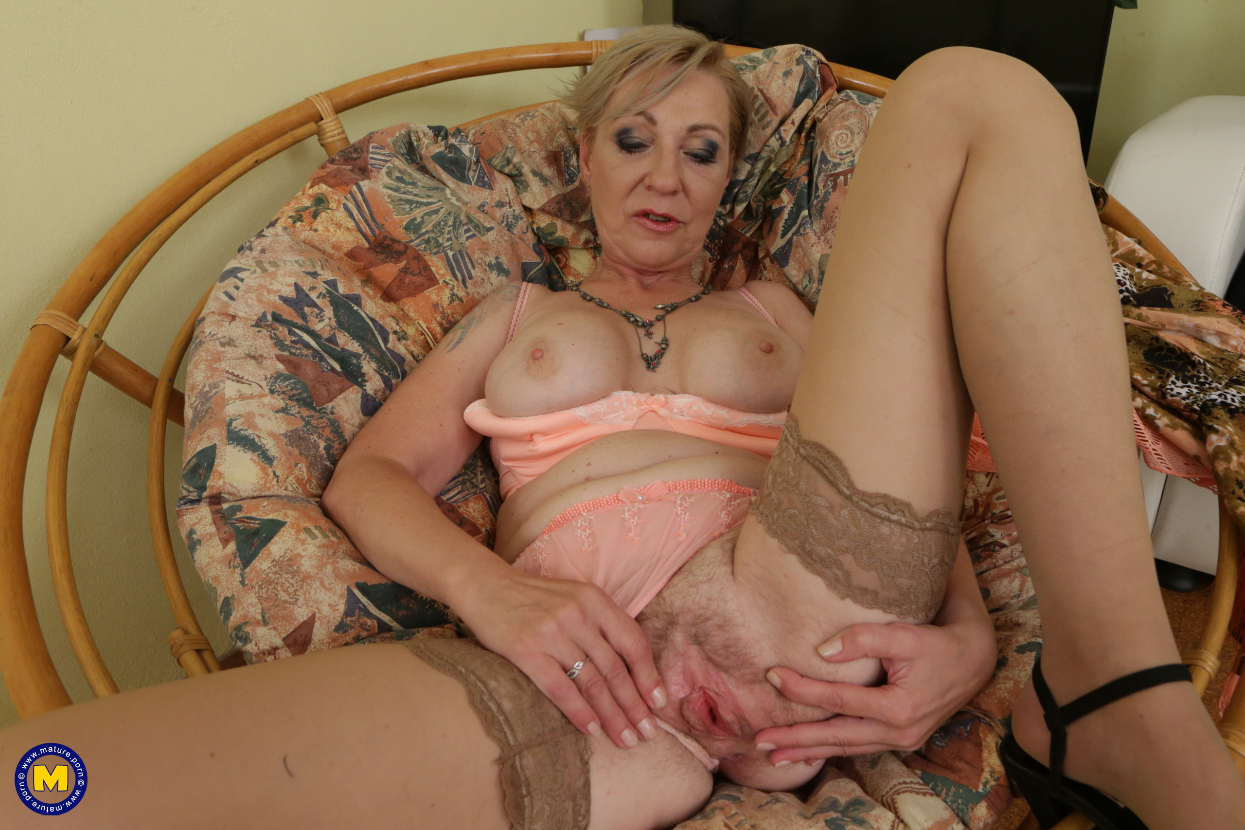 Fur covered housewife frolicking with her pussy